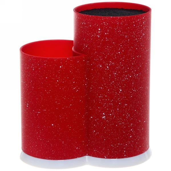 Подставка для ножей и кухонных принадлежностей Мрамор с черным наполнителем h22,5см красная
