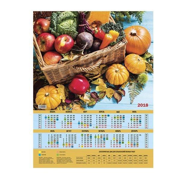 Календарь настенный листовой А2, OfficeSpace Сад и огород, 2018г. 243931